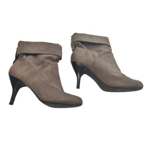 PURE Alfred Sung Slouch Suede Heeled Booties Tan 7